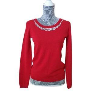 Cynthia Rowley Red Knit Jeweled Crew Neck Sweater